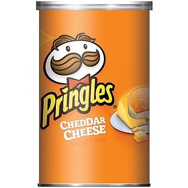Pringles Potato Crisps, Cheddar Cheese, 2.5 oz. Can, 24/Pack