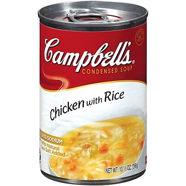 Campbells Condensed Chicken and Rice Soup, 10 oz. Can, 12/Pack