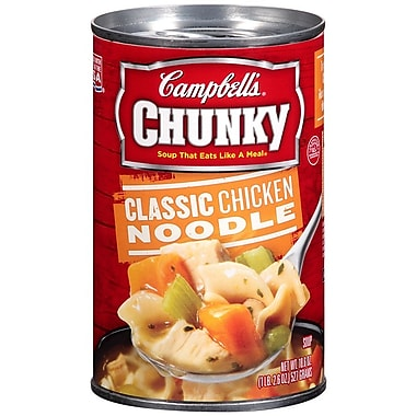 Campbells Chunky Classic Chicken Noodle Soup, 19 oz. Can, 8/Pack