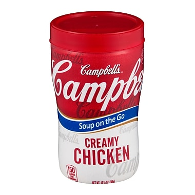 Campbells Soup at Hand Microwaveable, Cream of Chicken Soup, 10 oz., 12/Pack