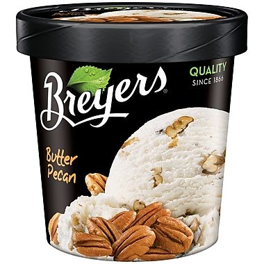 Breyers Butter Pecan All Natural Ice Cream, 1 Pint, 8/Pack