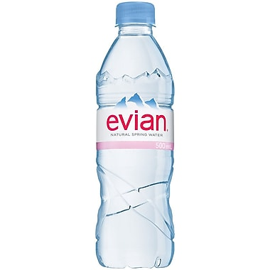 Evian Natural Spring Water, 500 ml Bottle, 24/Pack