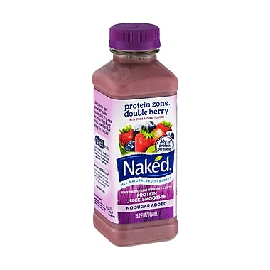 Naked All Natural Smoothie Juice, Protein Zone/Double Berry, 15.2 oz. Plastic Bottle, 8/Pack