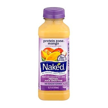 Naked All Natural Smoothie Juice, Protein Zone Mango, 15.2 oz. Plastic Bottle, 8/Pack