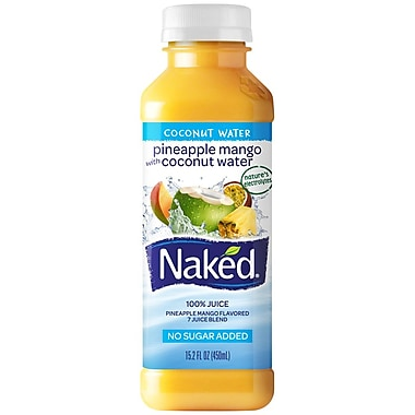 Naked® All Natural Smoothie Juice, Reduced Calorie/Tropical, 15.2 oz. Plastic Bottle, 8/Pack