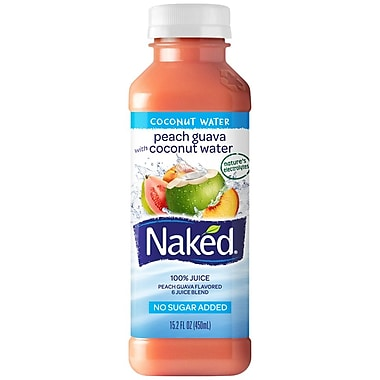 Naked® All Natural Smoothie Juice, Reduced Calorie/Peach Guava, 15.2 oz. Plastic Bottle, 8/Pack