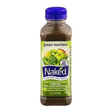Naked All Natural Smoothie Juice, Boosted/Green Machine, 15.2 oz. Plastic Bottle, 8/Pack
