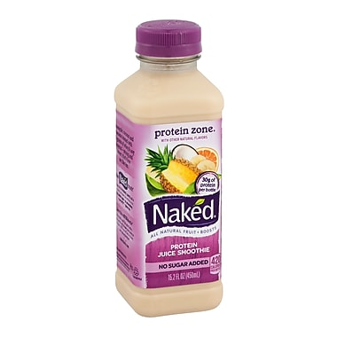 Naked® All Natural Smoothie Juice, Protein Zone, 15.2 oz. Plastic Bottle, 8/Pack