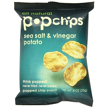 popchips Potato Chips, Sea Salt & Vinegar, 0.8 oz., 32/Pack