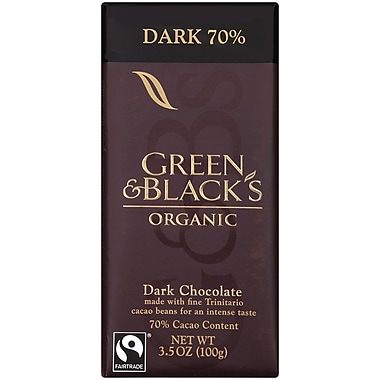 Greenandblacks Organic Dark Chocolate, 3.5 oz. Bars, 10/Pack