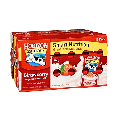 Horizon Organic Strawberry Milk, 8 oz. Box, 18/Pack