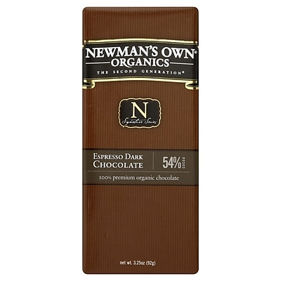 Newmans Own Organic Espresso Dark Chocolate Bars, 3.25 oz. Bars, 12/Pack 306866