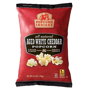 Popcorn Indiana All Natural Aged White Cheddar Popcorn, 6.5 oz., 6/Pack
