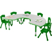 "Balt Brite Kids 72"" Plastic Horseshoe Table, Grass Green"