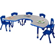 "Balt Brite Kids 72"" Plastic Horseshoe Table, Royal Blue"