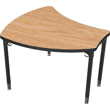 Balt Black Legs/Edgeband Large Shapes Desk Without Book Box, Castle Oak