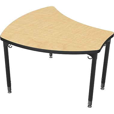 Balt Black Legs/Edgeband Large Shapes Desk Without Book Box, Fusion Maple