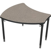 Balt Black Legs/Edgeband Large Shapes Desk Without Book Box, Pewter Mesh