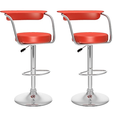 Sonax Not available 41.75'' Contemporary Adjustable Height Faux Leather Bar Stool, Red (B-157-UPD)