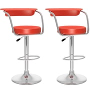 CorLiving™ Leatherette Open Back Adjustable Barstools, Red