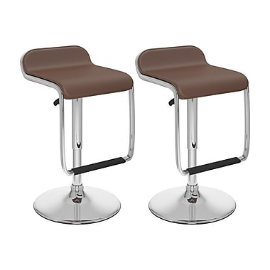 Sonax™ CorLiving™ Leatherette Adjustable Barstools With Footrest, Brown