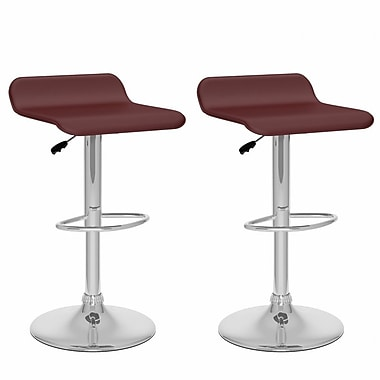 CorLiving™ Leatherette Curved Adjustable Barstools, Brown