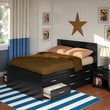 Sonax™ Willow Wood 2-Piece Double Captain's Storage Bed Set W/Flat Headboard, Black
