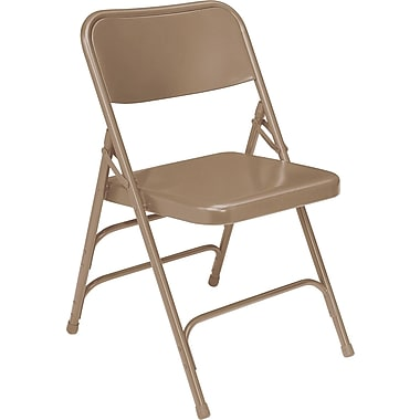 NPS® 300 Series All-Steel Triple Brace Armless Premium Big & Tall Folding Chair, Beige