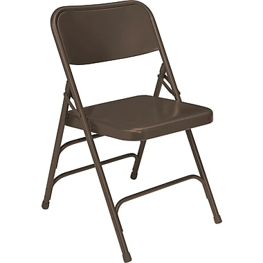 NPS® 300 Series All-Steel Triple Brace Armless Premium Big and Tall Folding Chair, Brown