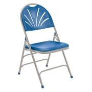 National Public Seating 1100 Series Steel Frame Fanback Folding Chair, Blue 100/Pack (1105/100)