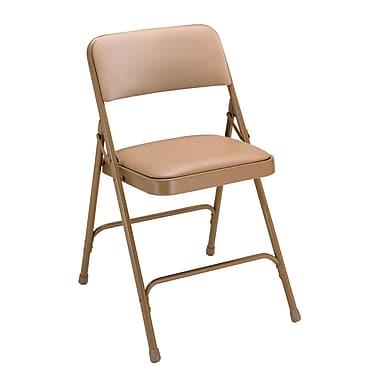 NPS® 1200 Series Vinyl Armless Premium Folding Chair, French Beige/Beige