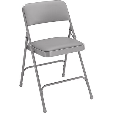 NPS® 1200 Series Vinyl Armless Premium Folding Chair, Warm Gray/Gray