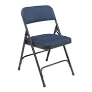 NPS® 1200 Series Vinyl Armless Premium Folding Chair, Dark Midnight Blue/Char-Blue