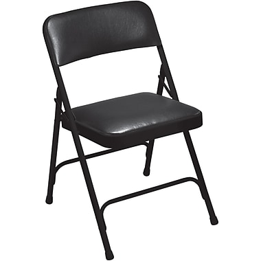 NPS® 1200 Series Vinyl Armless Premium Folding Chair, Caviar Black/Black