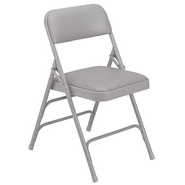 NPS® 1300 Series Vinyl Armless Premium Folding Chair, Warm Gray/Gray