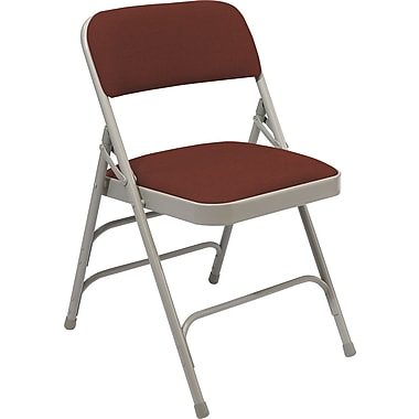 NPS® 2300 Series Fabric Armless Premium Folding Chair, Majestic Cabernet/Gray
