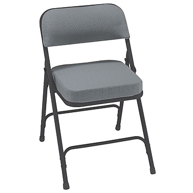 NPS® 3200 Series Fabric Armless Premium Folding Chair, Charcoal Gray/Black