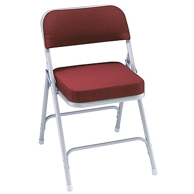 NPS® 3200 Series Fabric Armless Premium Folding Chair, New Burgundy/Gray