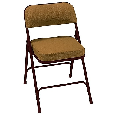 NPS® 3200 Series Fabric Armless Premium Folding Chair, Antique Gold/Brown