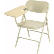 NPS® 5200 Series Steel Premium Folding Chair W/Right-Handed Arm, Light Oak/Beige