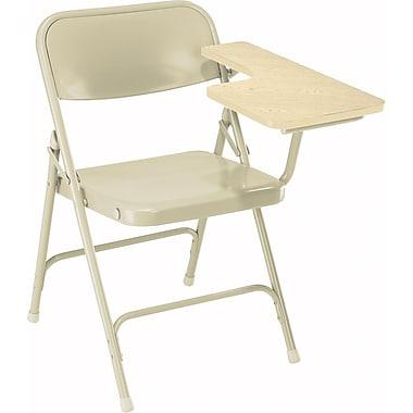 NPS® 5200 Series Steel Premium Folding Chair W/Left-Handed Arm, Light Oak/Beige