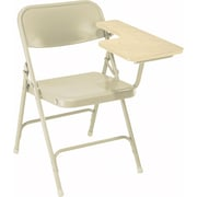 NPS® 5200 Series Steel Premium Folding Chair W/Left-Handed Arm, Light Oak/Beige