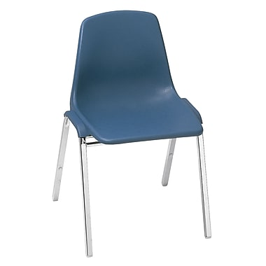 NPS® 8100 Series Poly Shell Stack Chair, Slate Blue/Chrome, 4/Pack