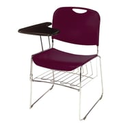 NPS® Plastic Hi-Tech Ultra-Compact Stack Chair, Wine/Chrome