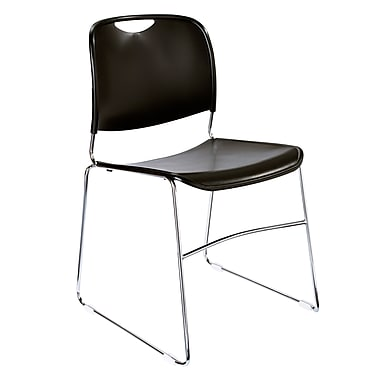 NPS® Plastic Hi-Tech Ultra-Compact Stack Chair, Black/Chrome, 4/Pack