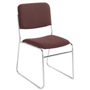 NPS® Pattern Fabric Signature Stack Chair, Diamond Burgundy/Chrome, 4/Pack