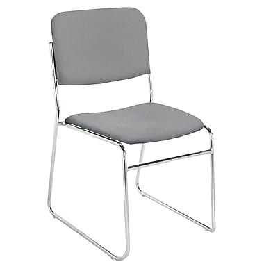NPS® 8600 Series Signature Lightweight Fabric Padded Stack Chair, Classic Gray/Chrome