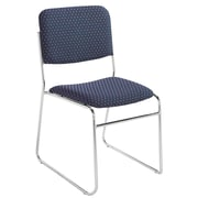 NPS® Pattern Fabric Signature Stack Chair, Diamond Navy/Chrome