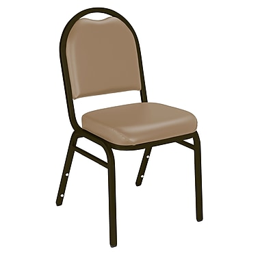 NPS® Vinyl Padded Dome Stack Chair, French Beige/Mocha, 4/Pack