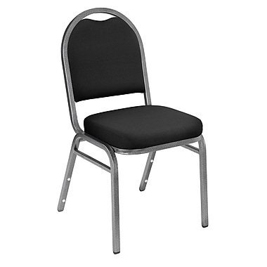 NPS® Solid Fabric Padded Dome Stack Chair, Ebony Black/Silvervein, 4/Pack